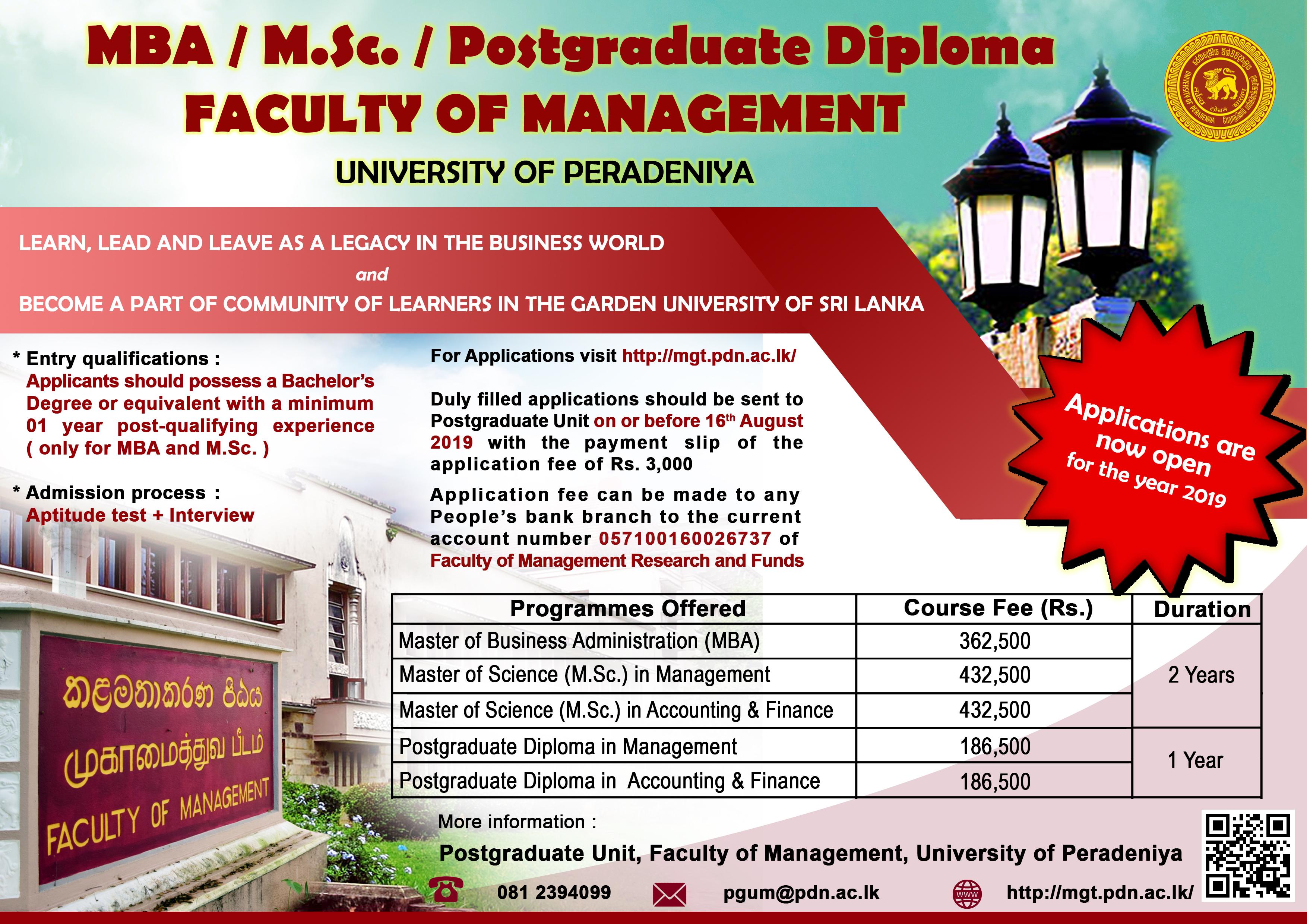 Faculty of Management   University of Peradeniya